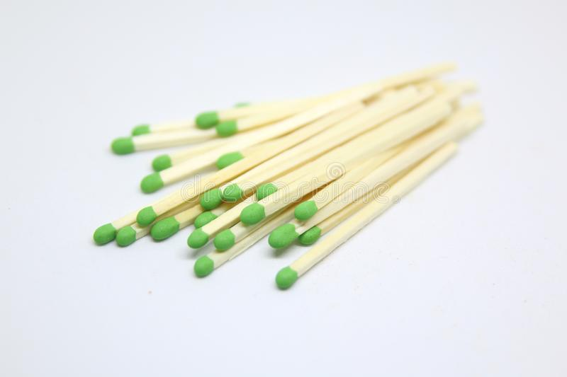 group of green head matches stock images