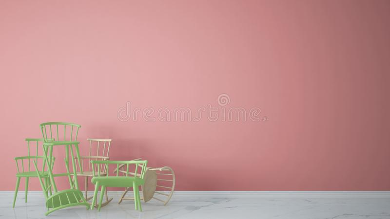 Group of green modern scandinavian classic and rocky chairs stacked up in contemporary empty interior with marble floor, architect. Designer concept, pink royalty free stock photos