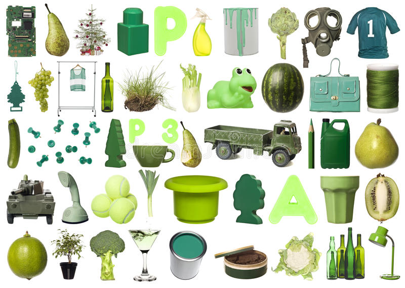 Group of Green Objects. Large group of Green objects isolated on white background stock photo