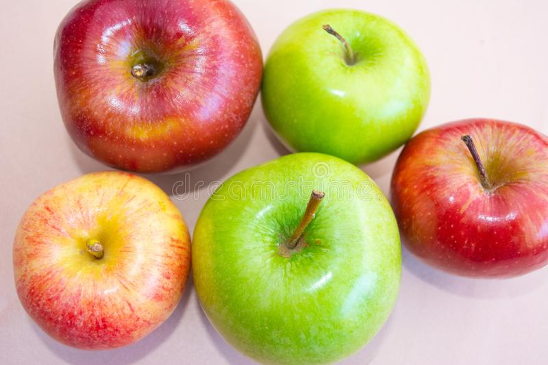 Green and red apples seen from above royalty free stock photography