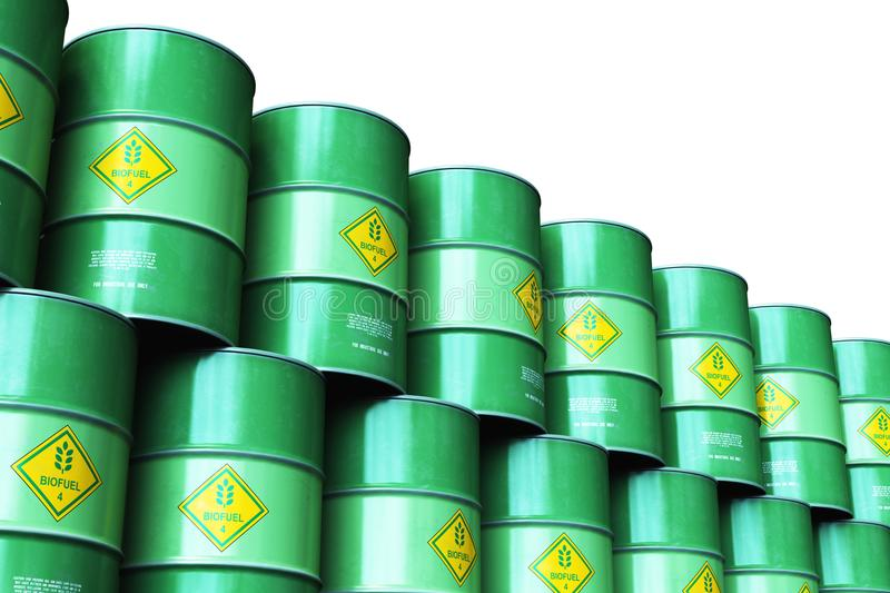 Group of green stacked biofuel drums isolated on white background royalty free illustration