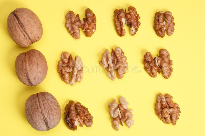 group of halves of walnut. stock photography