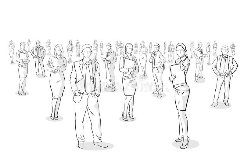 Group Of Hand Drawn Business People, Sketch Businesspeople stock illustration