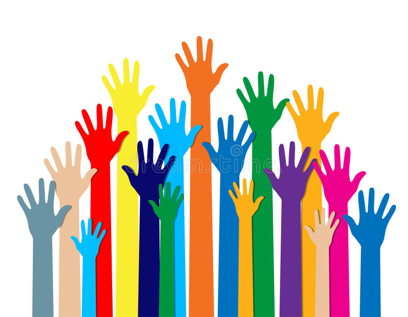 Group hands of different colors. stock illustration