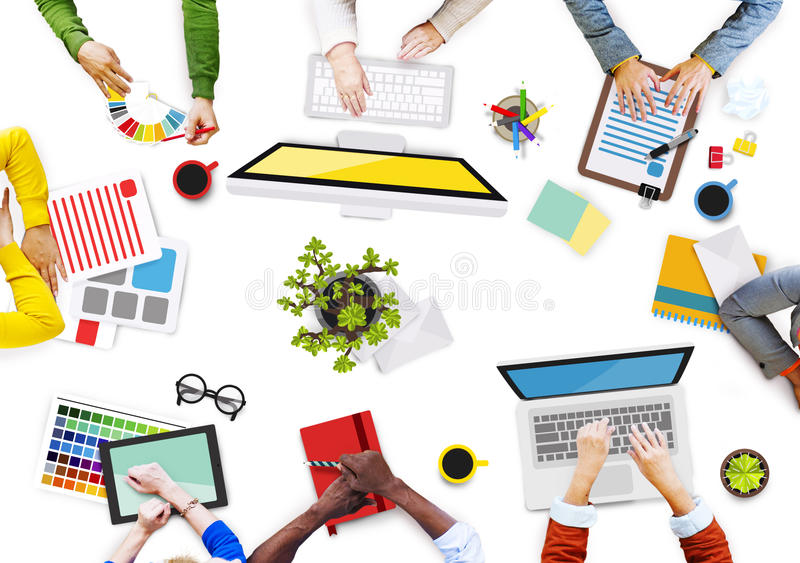 Group of Hands with Digital Devices Photo and Illustration.  stock illustration