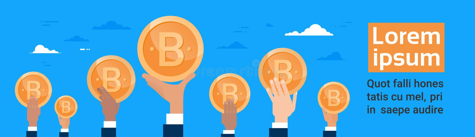 Group Of Hands Holding Bitcoin Crypto Currency Digital Or Virtual Web Money Concept Horizontal Banner royalty free illustration