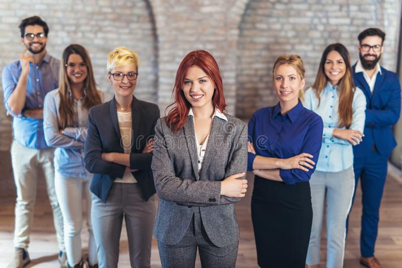 Group of happy business people and company staff in modern office royalty free stock images