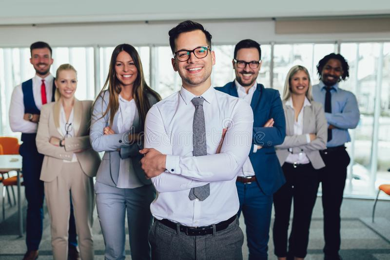 Group of happy business people and company staff in modern office, representig company. royalty free stock image