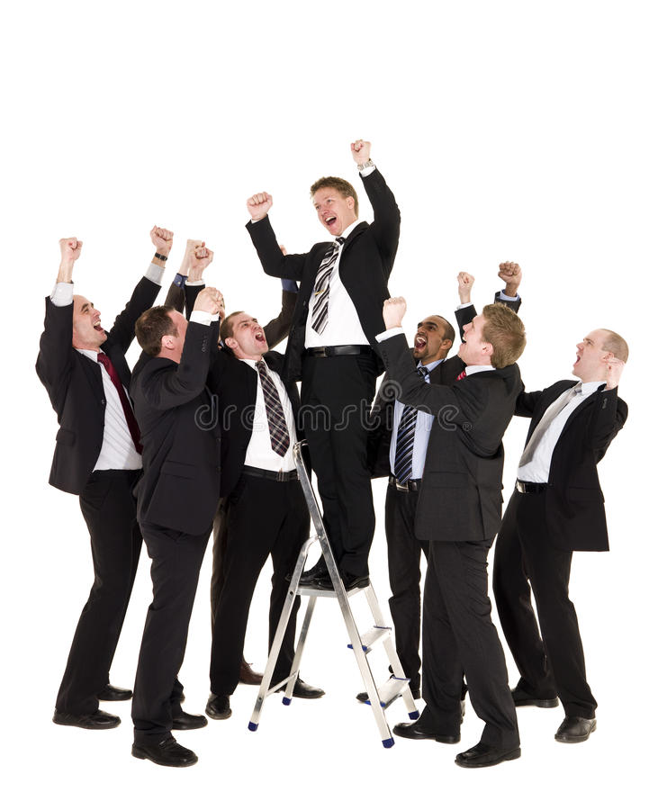 Group of happy businessmen stock images
