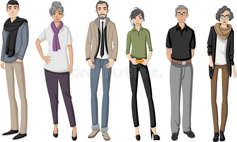 Group of happy cartoon old people royalty free illustration