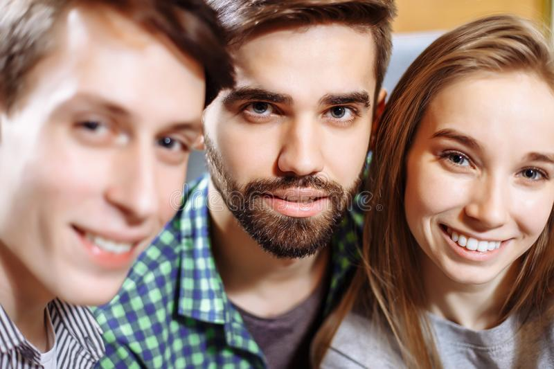 Group of happy cheerful best friends making selfie. royalty free stock photography