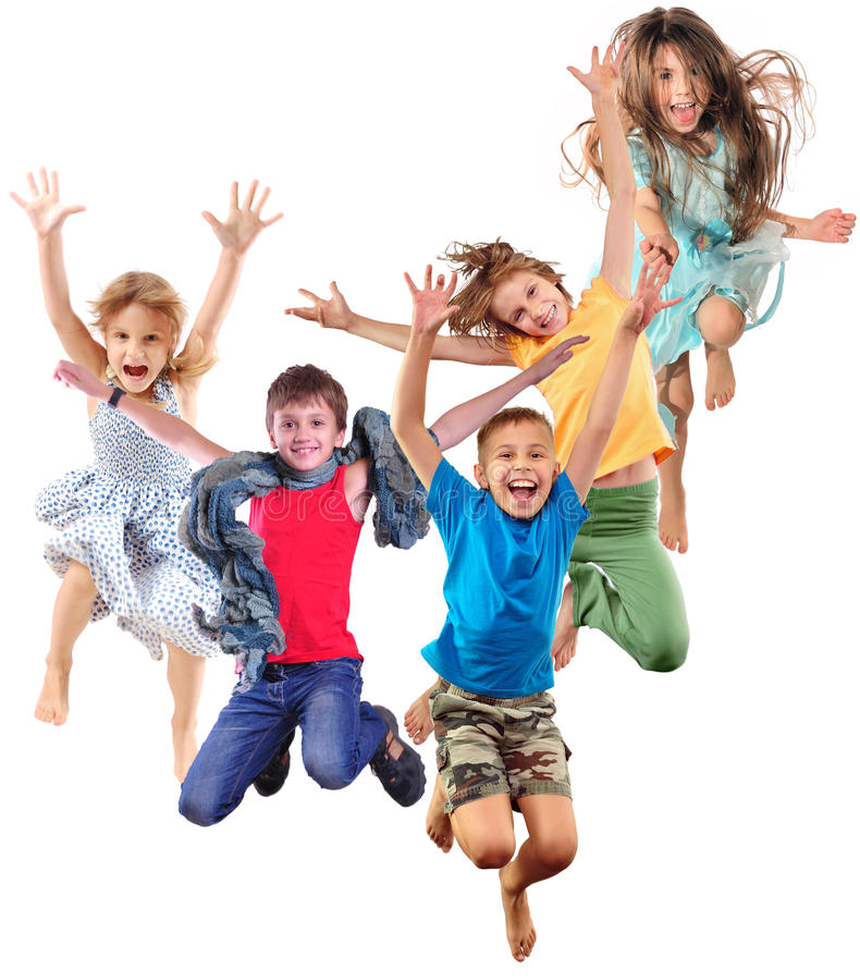 Group of happy cheerful sportive children jumping and dancing royalty free stock image