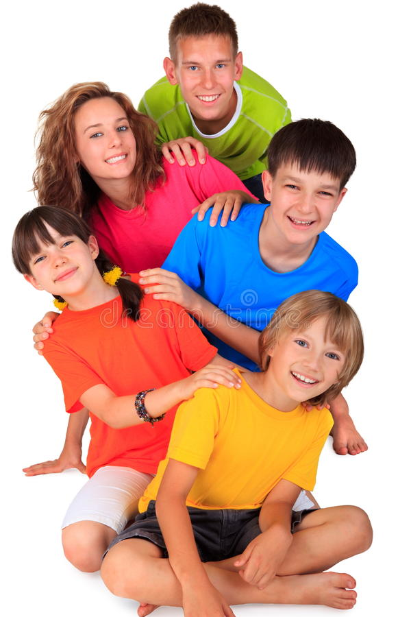 Group of Happy Children. Brothers and sisters in a group smiling and having fun stock photography