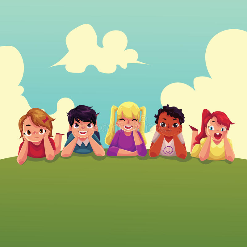 Group of happy children lying on green grass, summer activity royalty free illustration