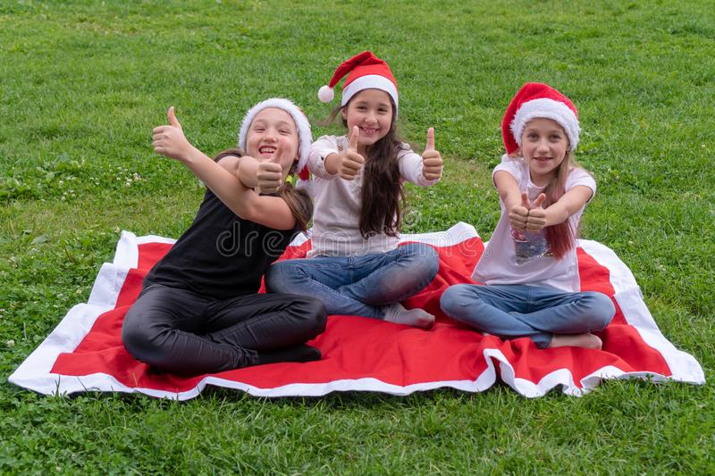 Group of happy children in santa claus hat lies in the park on the green grass and smiling. The concept of a new year, christmas royalty free stock photography