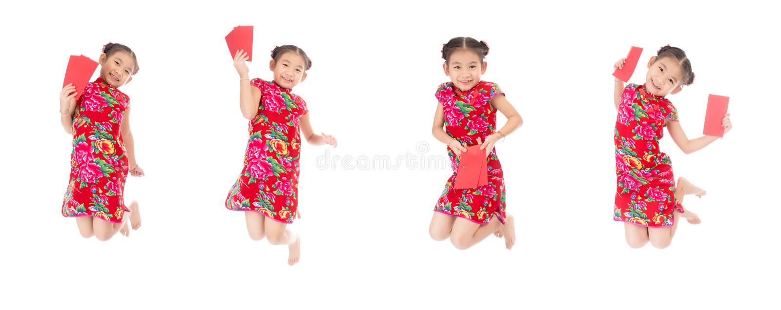 Group of happy chinese new year jump and smile ,asian girl holding red envelope royalty free stock photography
