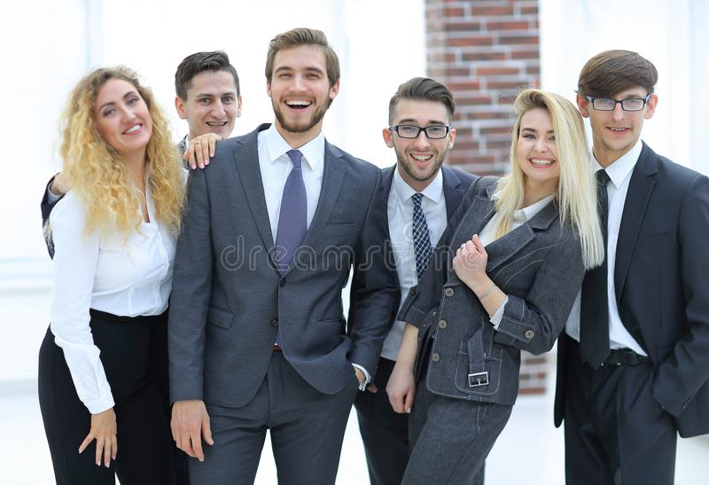 Group of happy colleagues stock image