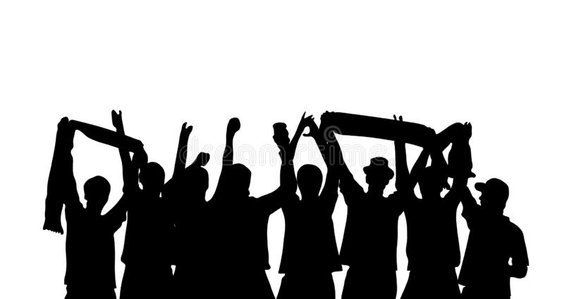 Group of happy fans celebrating at stadium. Silhouette of cheering football, sport or music fans royalty free stock photography