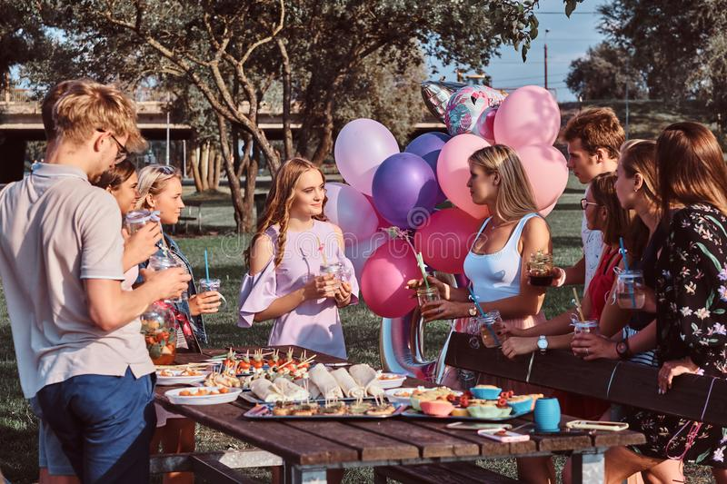 Group of happy friends having fun together celebrating a birthday at the outdoor park. Friends say a toast at picnic party outdoor royalty free stock images