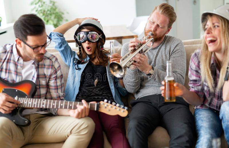 Group of happy friends having fun and party royalty free stock photos