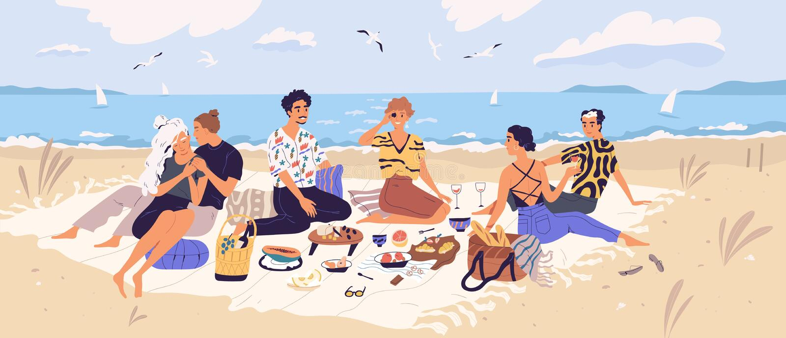 Group of happy friends at picnic on seashore. Young smiling men and women eating food on sandy beach. Cute funny people. Having lunch together on sea shore vector illustration