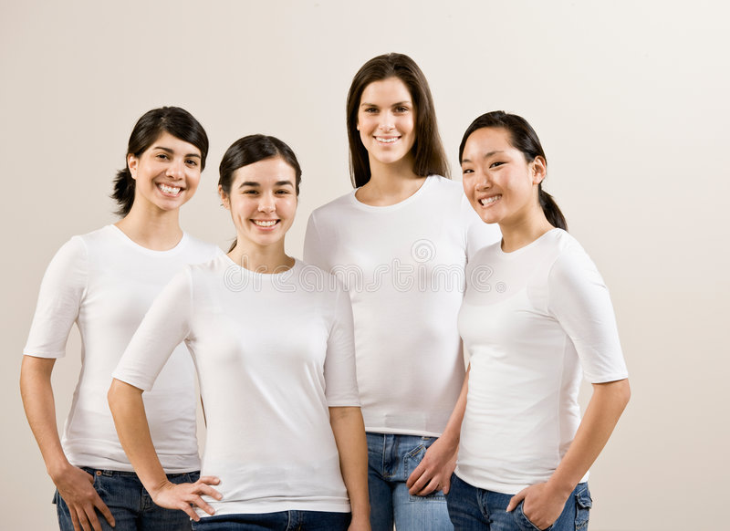 Group of happy friends smiling stock image