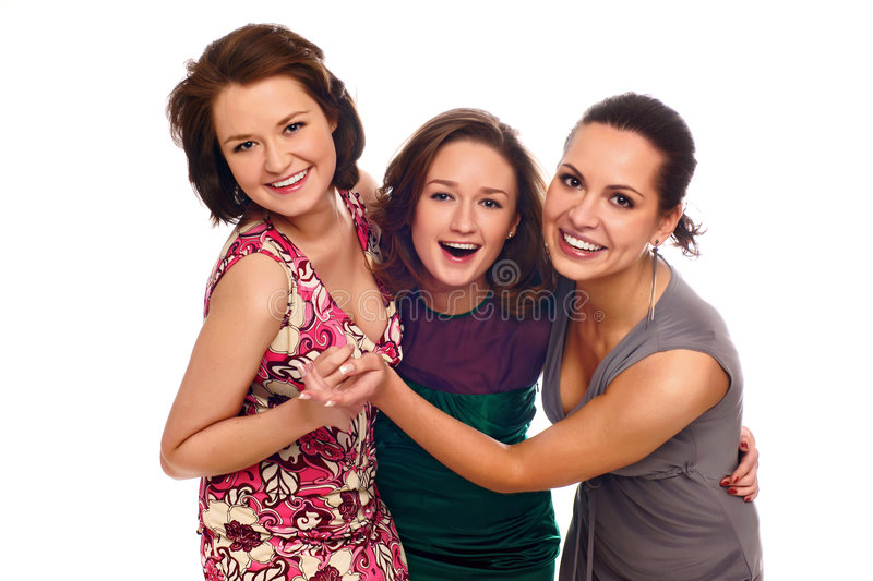 Group of happy girls royalty free stock images