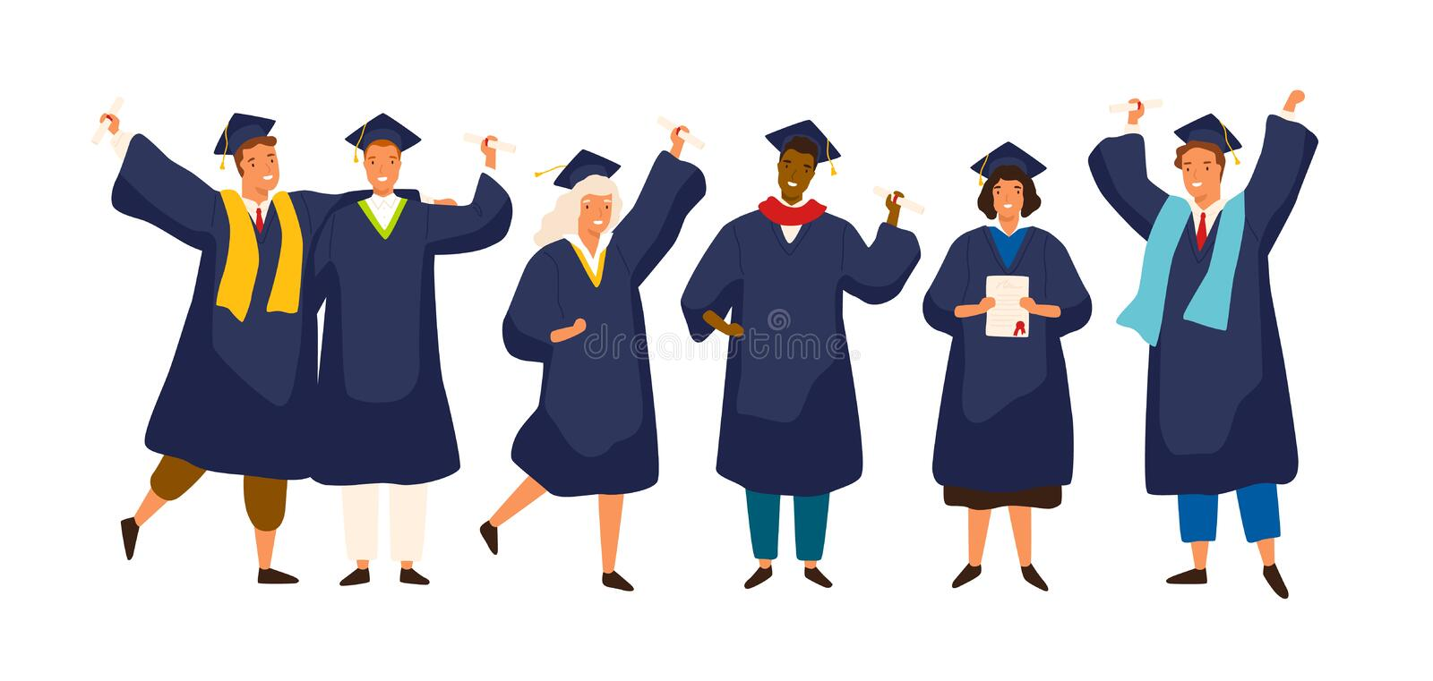 Group of happy graduated students wearing academic dress, gown or robe and graduation cap and holding diploma. Boys and. Girls celebrating university graduation stock illustration