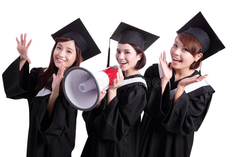 Group of happy graduates student. Shout by megaphone isolated on white background, asian royalty free stock image