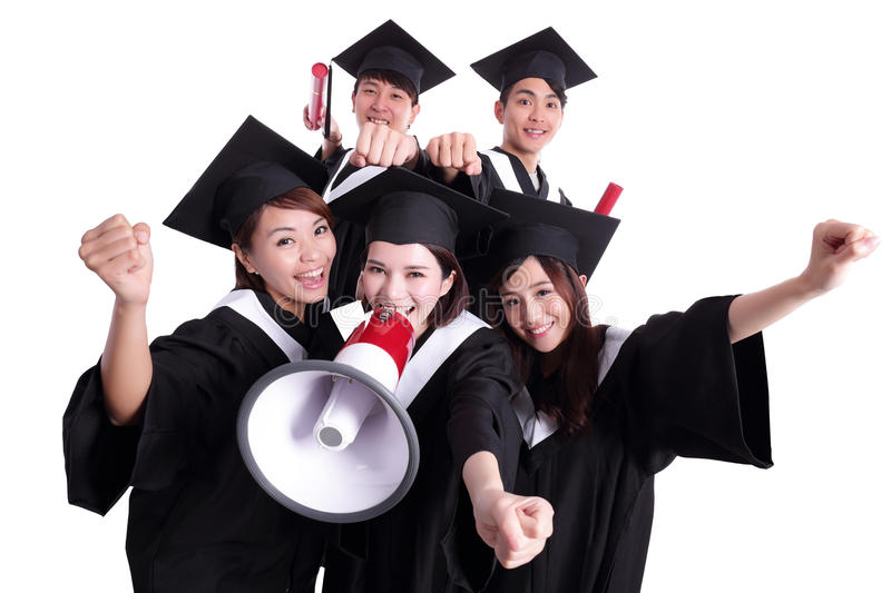 Group of happy graduates student. Shout by megaphone isolated on white background, asian stock images