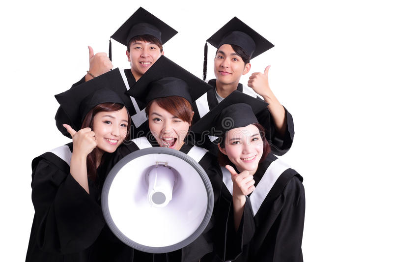 Group of happy graduates student. Shout by megaphone and show thumb up isolated on white background, asian royalty free stock photos