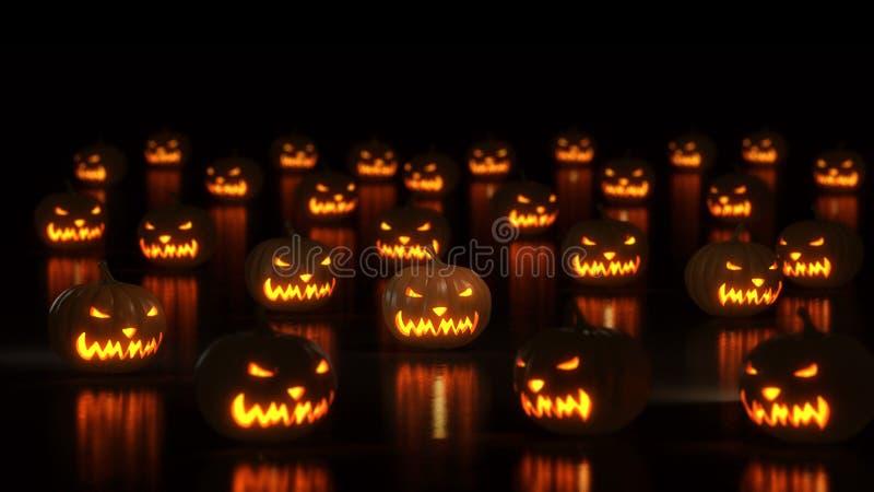 Group of happy halloween pumpkins vector illustration