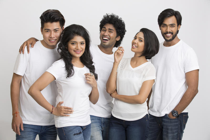 group of happy Indian students royalty free stock photos