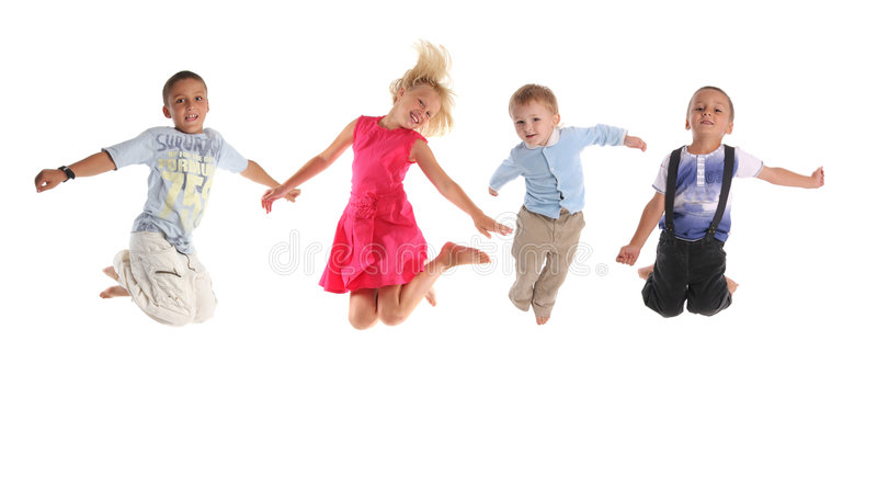 Download Group Of Happy Jumping Children Stock Photo - Image: 8746104