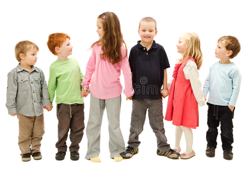 Download Group Of Happy Kids Holding Hands Stock Image - Image: 26305237