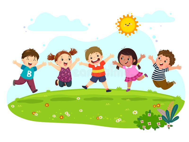 Group of happy kids jumping on summer meadow stock illustration