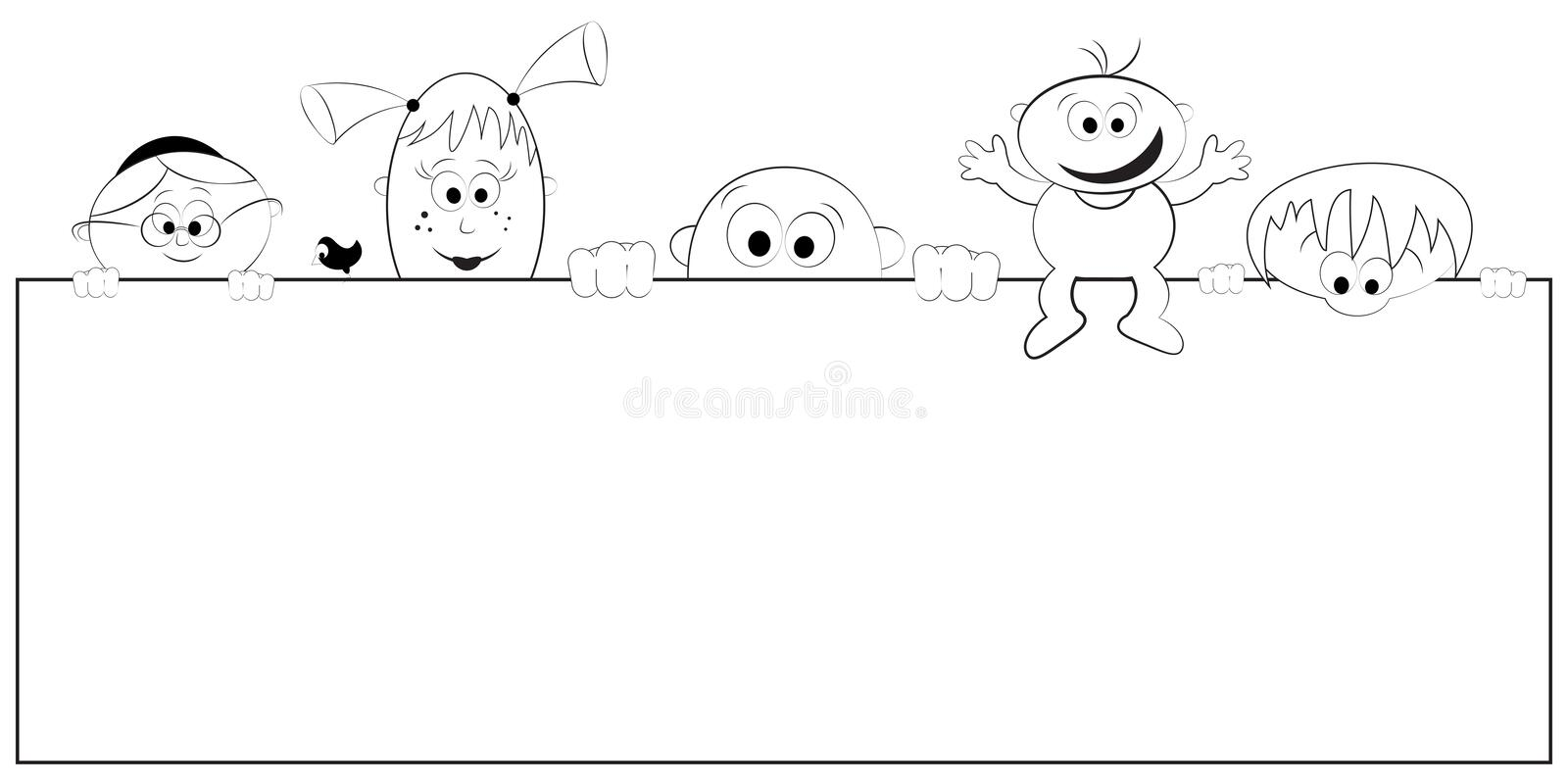 Download Group Of Happy People Holding Empty Banner Stock Vector - Image: 22848377