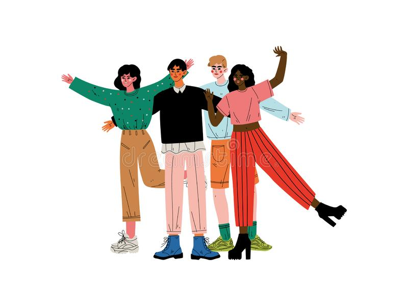 Group of Happy People Hugging, Girls and Guys Standing Together Celebrating Event Vector Illustration. On White Background vector illustration