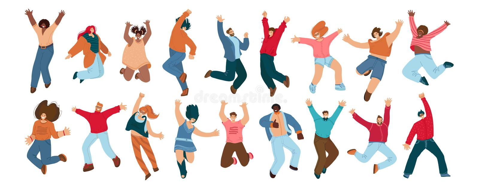 Group of happy people jumping on a white background. Young joyful jumping and dancing multiracial people with raised vector illustration