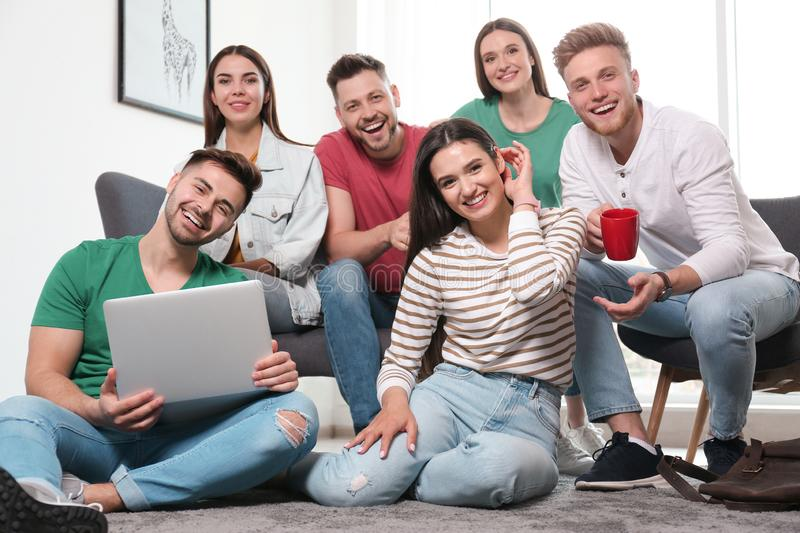 Group of happy people with laptop royalty free stock image