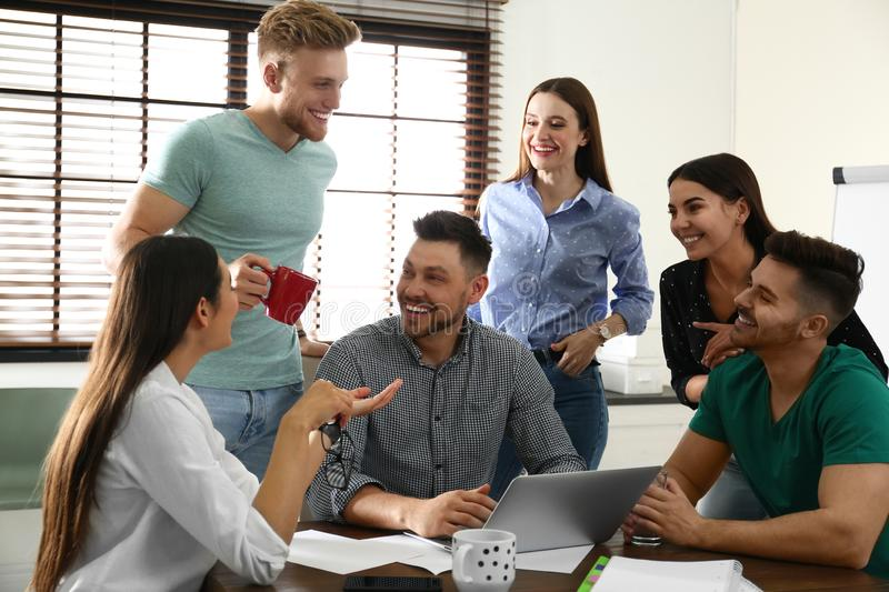 Group of happy people with laptop royalty free stock photo