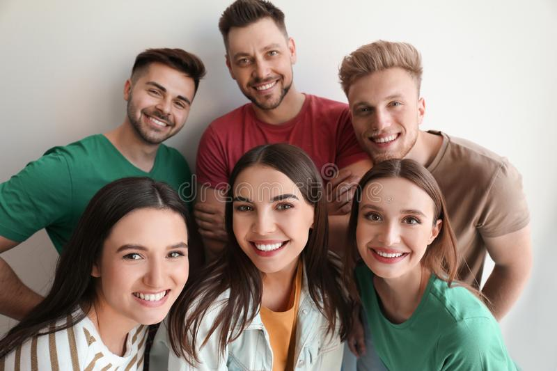 Group of happy people posing royalty free stock images