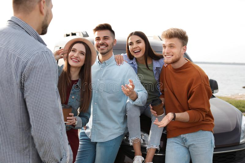 Group of happy people spending time together stock image