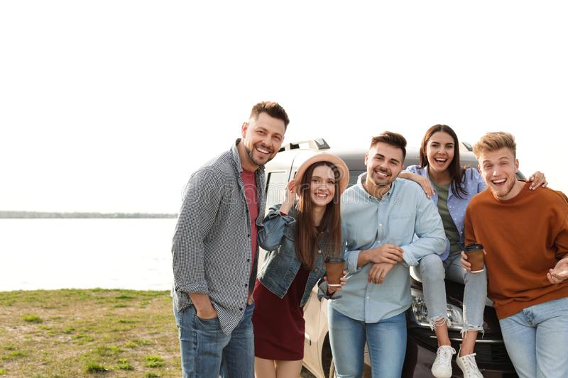 Group of happy people spending time together stock images