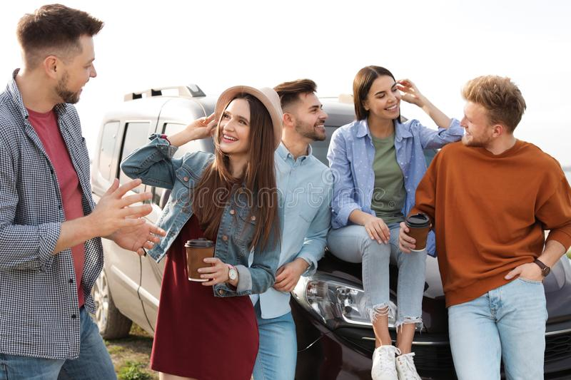 Group of happy people spending time together royalty free stock photo
