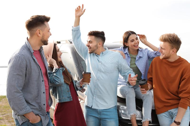 Group of happy people spending time together royalty free stock images