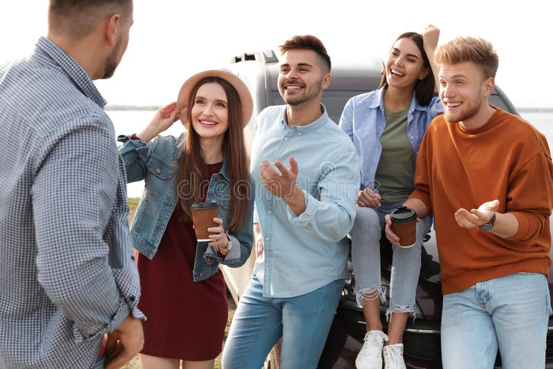Group of happy people spending time together stock photos