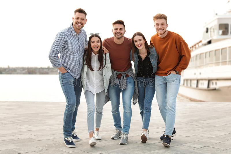 Group of happy people spending time together royalty free stock image
