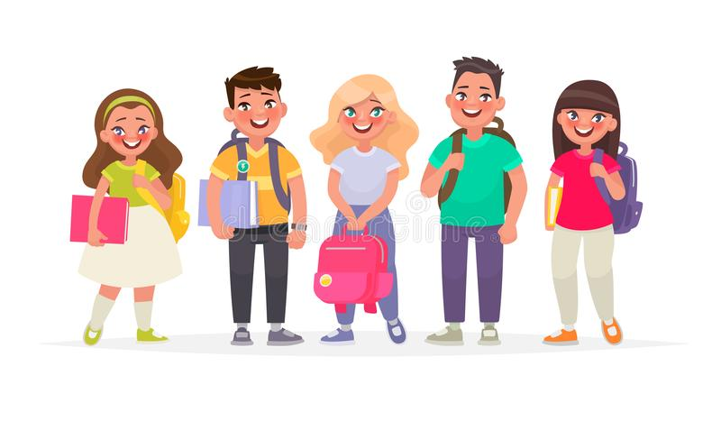Group of happy pupils.Boys and girls with backpacks and books. P royalty free illustration