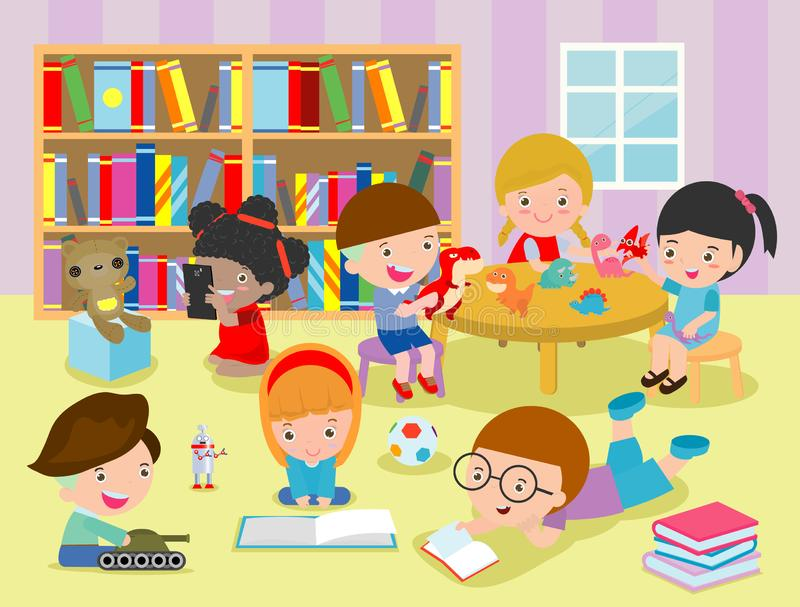 Group of happy school kids in classroom,children`s activity in the kindergarten, reading books, playing, education,Vector. Illustration stock illustration